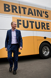 © Licensed to London News Pictures. 03/05/2017. Kidlington, UK. Liberal Democrat leader Tim Farron poses for a picture with the election battle bus during a campaign stop in Kidlington. Photo credit: Peter Macdiarmid/LNP