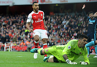 Football - 2016 / 2017 Premier League - Arsenal vs. Middlesbrough<br /> <br /> Theo Walcott of Arsenal is foiled by Victor Valdes at The Emirates.<br /> <br /> COLORSPORT/ANDREW COWIE