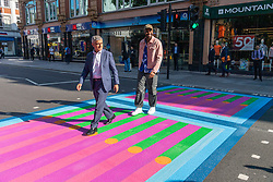 © Licensed to London News Pictures. 16/09/2021. London, UK. Mayor of London, Sadiq Khan  and artist YINKA ILORI  unveil Bring London Together, a spectacular new public art commission transforming 18 pedestrian crossings with distinctive playful designs. The 'Bring London Together' project is designed to draw Londoners and visitors to central London and support the capital's creative, retail and hospitality sectors which have been disproportionately affected by the pandemic. It is the latest instalment of the Mayor's Let's Do London tourism campaign–the largest domestic tourism campaign the capital has ever seen. Photo credit: Ray Tang/LNP