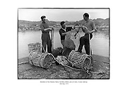 Members of the Cloherty family building lobster pots at Carna, County Galway.<br /> <br /> 14th May 1959<br /> <br /> 14/05/1959