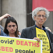 24 July 2021, Trafalgar London. Speaker Piers Corbyn in London to oppose covid vaccines and government restrictions, London, UK.