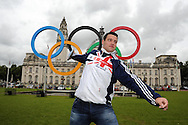 Welsh athlete Brett Morse, selected for discus event in the GB team for the London Olympics, poses for a picture outside Cardiff city Hall in Cardiff on 12/7/2012. pic by Andrew Orchard, Andrew Orchard sports photography,
