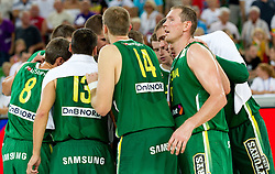 Players of Lithuania after the friendly match before Eurobasket Lithuania 2011 between National teams of Slovenia and Lithuania, on August 24, 2011, in Arena Stozice, Ljubljana, Slovenia. Slovenia defeated Lithuania 88-66. (Photo by Vid Ponikvar / Sportida)