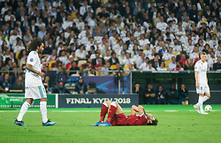 Injured Mohamed Salah of Liverpool during the UEFA Champions League final football match between Liverpool and Real Madrid at the Olympic Stadium in Kiev, Ukraine on May 26, 2018.Photo by Sandi Fiser / Sportida
