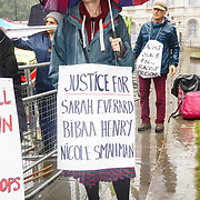 Supporters of Women Against Rape hold a demonstration in the rian outside The House of Lords in London to oppose the Crime, Sentencing & Courts Bill at Old Palace Yard on 2019-09-14, London, UK.