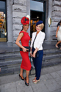 Runner up in the Hotel Meyrick Best Dressed lady Competition Eva Morrissey, Castletroy, Co. Limerick and Winner Orla Sheridan from Foxford Co. Mayo at Hotel Meyrick in Eyre Sq. Galway during Galway's Race week . Photo:Andrew Downes