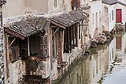 Traditional homes along Shantang canal in Suzhou, China.