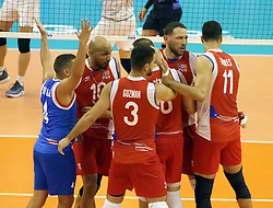 September 12, 2018 - Varna, Bulgaria - joy of the taem of Puerto Rico after winning a point.FIVB Volleyball Men's World Championship 2018, pool D, Iran vs Puerto Rico,. Palace of Culture and Sport, Varna/Bulgaria, .the teams of Finland, Cuba, Puerto Rico, Poland, Iran and co-host Bulgaria are playing in pool D in the preliminary round. (Credit Image: © Wolfgang Fehrmann/ZUMA Wire)