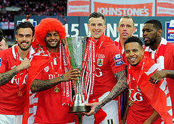 Goal scorers Bristol City's Mark Little and Bristol City's Aden Flint lift the JPT trophy  - Photo mandatory by-line: Joe Meredith/JMP - Mobile: 07966 386802 - 22/03/2015 - SPORT - Football - London - Wembley Stadium - Bristol City v Walsall - Johnstone Paint Trophy Final