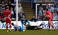 Photo: Jed Wee.<br />Hartlepool United v Bristol City. Coca Cola League 1. 15/04/2006.<br /><br />Bristol City goalkeeper Adriano Basso makes an important save from Hartlepool's Eifion Williams in stoppage time.