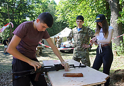 May 26, 2019 - Boyarka, Kyiv Region, Ukraine - Weapon assembly and disassembly workshop is condycted during the IV season of the Beneath the Trident oper-air fest in Boyarka, Kyiv Region, central Ukraine, May 25, 2019. Ukrinform. /VVB/ (Credit Image: © Volodymyr Tarasov/Ukrinform via ZUMA Wire)