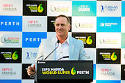 February 19th 2017, Lake Karrinyup Country Club, Perth, Western Australia, Australia; ISPS Handa World Super 6 Perth Golf Tournament Day 4; Former New Zealand Prime Minister John Key in his role as patron of the Handa Foundation makes a speech at the presentation