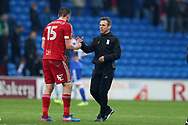 Gianfranco Zola, the Birmingham city manager shakes hands with goalscorer Lukas Jutkiewicz of Birmingham (15) at the end of the match. EFL Skybet championship match, Cardiff city v Birmingham City at the Cardiff City Stadium in Cardiff, South Wales on Saturday 11th March 2017.<br /> pic by Andrew Orchard, Andrew Orchard sports photography.