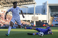 Dylan Crowe of England (2) skips past a defender during the UEFA European Under 17 Championship 2018 match between England and Israel at Proact Stadium, Whittington Moor, United Kingdom on 4 May 2018. Picture by Mick Haynes.