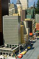 Lego Miniature Model of new York City skyscraper buildings at Miniland, LegoLand, tourist amusement attraction in Carlsbad, San Diego County, California