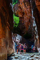 Hikers in the slot canyon, Kanarra Creek Falls, near Cedar City, Utah USA.