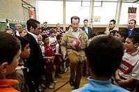 """23 APR 2006, BERLIN/GERMANY:<br /> Franz Muentefering, SPD, Bundesarbeitsminister, spielt Fussball, waehrend dem Besuch des Kiez-Fussballturniers """"Xhain kickt"""", 3. SPD Fussballturnier fuer E-Jugend mit acht Mannschaften aus Friedrichshain-Kreuzberg, Lobeckhalle, Berlin-Kreuzberg<br /> IMAGE: 20060423-01-013<br /> KEYWORDS: Fußball, Jugendliche, Kinder, Amateurfussball, spielen"""
