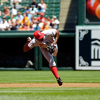 01 July 2007:  Los Angeles Angels second baseman Howie Kendrick (47) fields a ground ball in the 1st inning and throws out Baltimore Orioles right fielder Nick Markakis (21) to end the inning.  The Angels defeated the Orioles 4-3 at Camden Yards in Baltimore, MD.   ****For Editorial Use Only****
