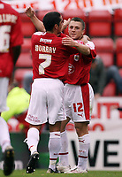 Photo: Rich Eaton.<br /> <br /> Bristol City v Crewe Alexander. Coca Cola League 1. 14/10/2006. Scott Murray left #7 of Bristol who scored the first goal congratulates Scott Brown who scored the second