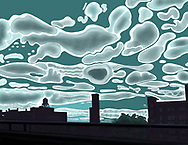 Drawing of the View of the Bronx from the Bruckner Expressway on Summer's morning