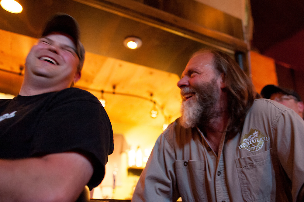 Andy Breland (R) and his son-in-law, Jesse Paine, laughing while watching the premier of Dead End Express.