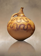 Mycenaean jug with stylised snakes , Grave VI, Grave Circle A, Mycenae 16-15 Cent BC. National Archaeological Museum Athens. Cat No 946 .<br /> <br /> If you prefer to buy from our ALAMY PHOTO LIBRARY  Collection visit : https://www.alamy.com/portfolio/paul-williams-funkystock/mycenaean-art-artefacts.html . Type -   Athens    - into the LOWER SEARCH WITHIN GALLERY box. Refine search by adding background colour, place, museum etc<br /> <br /> Visit our MYCENAEN ART PHOTO COLLECTIONS for more photos to download  as wall art prints https://funkystock.photoshelter.com/gallery-collection/Pictures-Images-of-Ancient-Mycenaean-Art-Artefacts-Archaeology-Sites/C0000xRC5WLQcbhQ