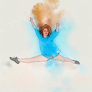 Digitally enhanced image of a smiling young woman jumping with joy