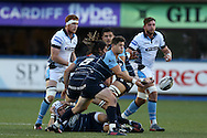 Lloyd Williams of Cardiff Blues passes the ball out wide. Guinness Pro12 rugby match, Cardiff Blues v Glasgow Warriors Rugby at the Cardiff Arms Park in Cardiff, South Wales on Friday 16th September 2016.<br /> pic by Andrew Orchard, Andrew Orchard sports photography.