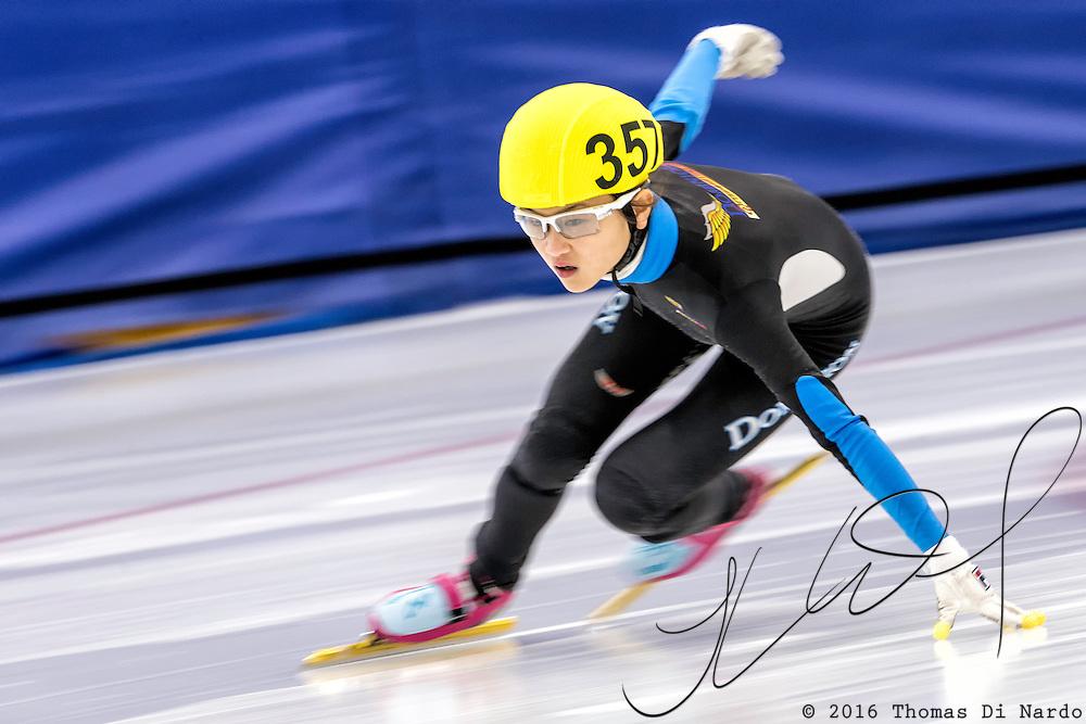 December 17, 2016 - Kearns, UT - Kyubin Oh skates during US Speedskating Short Track Junior Nationals and Winter Challenge Short Track Speed Skating competition at the Utah Olympic Oval.