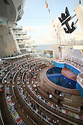 The launch of Royal Caribbean International's Oasis of the Seas, the worlds largest cruise ship..Aquatheater on the boardwalk