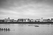 London. United Kingdom,  No.2. Cambridge University Women's Boat Club, move past an umpire's tin fish launch, passing Barnes during the 2018 Women's Head of the River Race.  location Barnes Bridge, Championship Course, Putney to Mortlake. River Thames, <br /> <br /> Saturday   10/03/2018<br /> <br /> [Mandatory Credit:Peter SPURRIER Intersport Images]<br /> <br /> Leica Camera AG  M9 Digital Camera  1/250 sec. 50 mm f. 160 ISO.  17.5MB