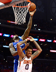October 21, 2017 - Los Angeles, California, U.S. - Los Angeles Clippers center DeAndre Jordan (6) scores over Phoenix Suns forward Marquese Chriss (0) in the second half during an NBA basketball game at the Staples Center on Saturday, Oct 21, 2017 in Los Angeles. .(Photo by Keith Birmingham, Pasadena Star-News/SCNG) (Credit Image: © San Gabriel Valley Tribune via ZUMA Wire)