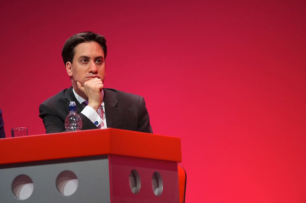 Newly elected Labour leader Ed Miliband listens to a speech during the Labour Autumn Conference in Manchester on 27 September 2010.