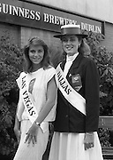 Roses of Tralee at Guinness Brewery..1986.20.08.1986..08.20.1986..20th August 1986..As part of the 50th running of the Rose Of Tralee Festival the thirty Rose contestants were invited to The Guinness Brewery,St James's Gate,Dublin. At the reception in their honour, Mr Pat Healy,Sales Director,Guinness Group Sales,welcomed the roses at the Guinness Reception Centre..Extra: Ms Noreen Cassidy,representing Leeds,went on to win the title of 'Rose Of Tralee'...Roses from Dallas and Las Vegas pictured at the Guinness reception.