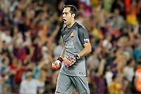 FC Barcelona's Claudio Bravo celebratres goal during La Liga match.August 24,2014. (ALTERPHOTOS/Acero)