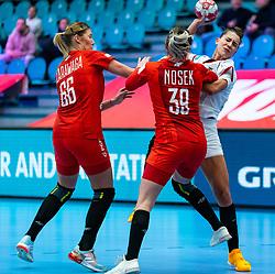 Joanna Szarawaga of Poland, Natalia Nosek of Poland, Emily Bolk of Germany during the Women's EHF Euro 2020 match between Germany and Poland at Sydbank Arena on december 07, 2020 in Kolding, Denmark (Photo by RHF Agency/Ronald Hoogendoorn)