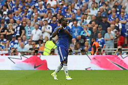 Chelsea's Victor Moses is sent off after receiving his second yellow card for simulation during the Emirates FA Cup Final at Wembley Stadium, London.