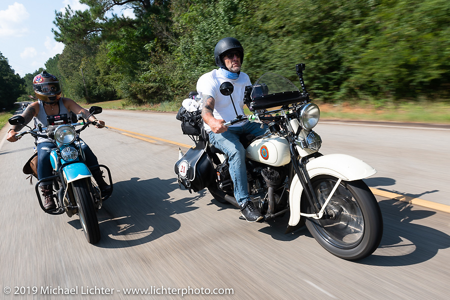 Tom Banks riding his 1936 Harley-Davidson VLH Flathead with riding partner Jody Perewitz just behind him during the Cross Country Chase motorcycle endurance run from Sault Sainte Marie, MI to Key West, FL. (for vintage bikes from 1930-1948). Stage-6 from Chattanooga, TN to Macon, GA USA covered 258 miles. Wednesday, September 11, 2019. Photography ©2019 Michael Lichter.
