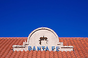 Red tile roof and sign on the Santa Fe Southern Railway depot, Santa Fe, New Mexico USA