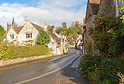 Attractive stone cottages in Castle Combe, Wiltshire, England, UK claimed to be England's prettiest village