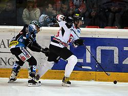 21.10.2011, Keine Sorgen Eisarena, Linz, AUT, EBEL, EHC Liwest Black Wings Linz vs HC Orli Znojmo, im Bild Daniel Oberkofler (Liwest Black Wings Linz, #74) and Lubomir Stach (HC Orli Znojmo, #26), during the Erste Bank Icehockey League, Keine Sorgen Eisarena, Linz, Austria, 2011-10-21, EXPA Pictures © 2011, PhotoCredit: EXPA/ Reinhard Eisenbauer