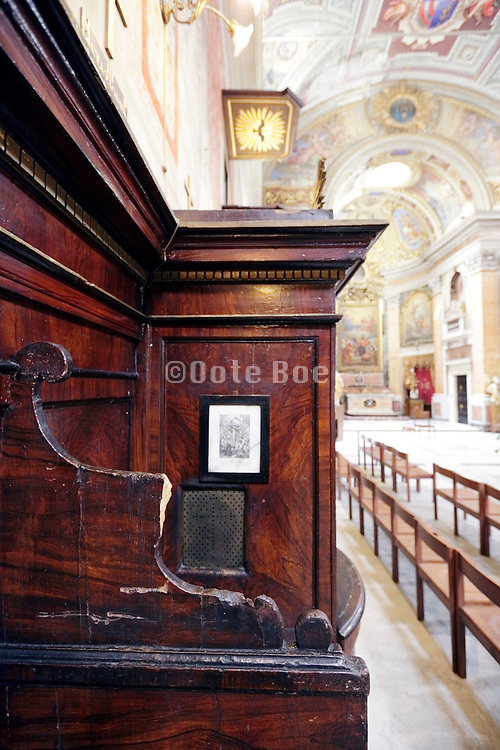 broken confessional in a church Rome Italy