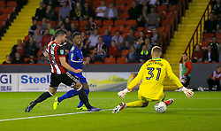 """Leicester City's Demarai Gray scores his side's first goal of the game during the Carabao Cup, Second Round match at Bramall Lane, Sheffield. PRESS ASSOCIATION Photo. Picture date: Tuesday August 22, 2017. See PA story SOCCER Sheff Utd. Photo credit should read: Tim Goode/PA Wire. RESTRICTIONS: EDITORIAL USE ONLY No use with unauthorised audio, video, data, fixture lists, club/league logos or """"live"""" services. Online in-match use limited to 75 images, no video emulation. No use in betting, games or single club/league/player publications."""