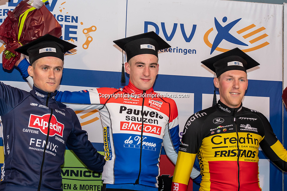 2020-01-05 Cycling: dvv verzekeringen trofee: Brussels: Dutch champion Ryan Kamp is the winner in the race of the champions. French champion Antoine Benoist finishes second ahead of belgian champion Timo Kielich