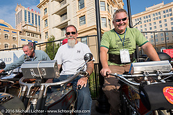 Victor Boocock (L) of California on his 1914 Harley-Davidson next to Kansans Bill Page (M) of Kansas on his 1915 Harley-Davidson AND Kelly Modlin on his 1914 Excelsior on the Atlantic City boardwalk at the start of the Motorcycle Cannonball Race of the Century. Stage-1 from Atlantic City, NJ to York, PA. USA. Saturday September 10, 2016. Photography ©2016 Michael Lichter.