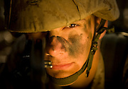 Marine Corps recruit Cody Stearns watches his perimeter during training at Parris Island, S.C., on Nov. 24, 2007. (Photo by Stacy L. Pearsall)