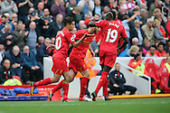Philippe Coutinho of Liverpool (l) celebrates with his teammates after scoring his teams 4th goal. Premier League match, Liverpool v Hull City at the Anfield stadium in Liverpool, Merseyside on Saturday 24th September 2016.<br /> pic by Chris Stading, Andrew Orchard sports photography.
