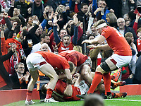 Rugby Union - 2019 Guinness Six Nations Championship - Wales vs. England<br /> <br /> Elliot Daly of England scores a try , at the Principality Stadium (Millennium Stadium).<br /> <br /> COLORSPORT/WINSTON BYNORTH