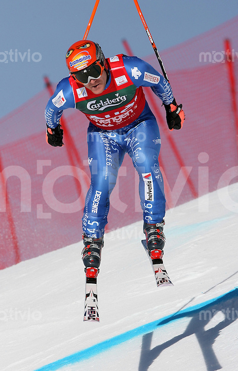 Ski Alpin; Saison 2006/2007  77. Weltcup Abfahrt Herren Training Didier Cuche (SUI) an der Minschkante