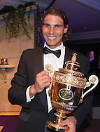 Rafa Nadal at the Wimbledon Champions' Awards Dinner, holding the Men's Singles Trophy Client: Sprout